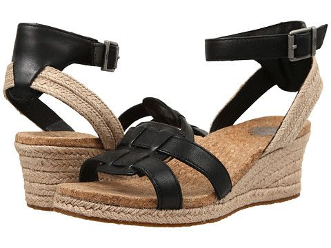 7bfb1a5aeb5f UGG Maysie Ankle Strap Espadrille Wedge Sandal leather black 2h sz7.5 99.95  6 16