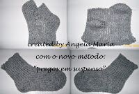 by Angela Maria: Meia no tear manual de tricô