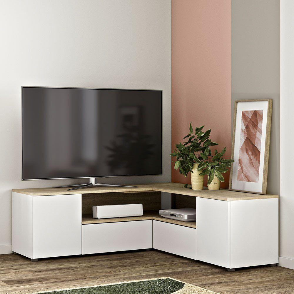 Mobile porta TV angolare Angle in bianco ed essenza rovere ...