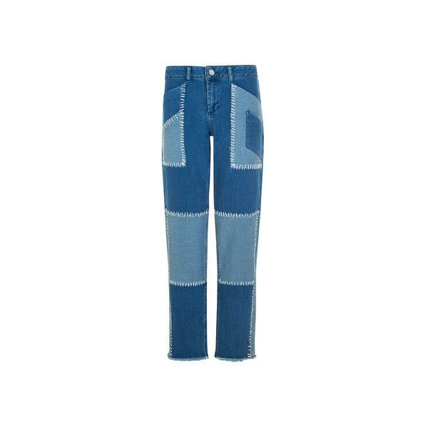 House Of Holland Patchwork Boyfriend Jeans ($385) ❤ liked on Polyvore featuring jeans, blue, boyfriend jeans, zipper denim jeans, high rise jeans, high waisted denim jeans and 5 pocket jeans