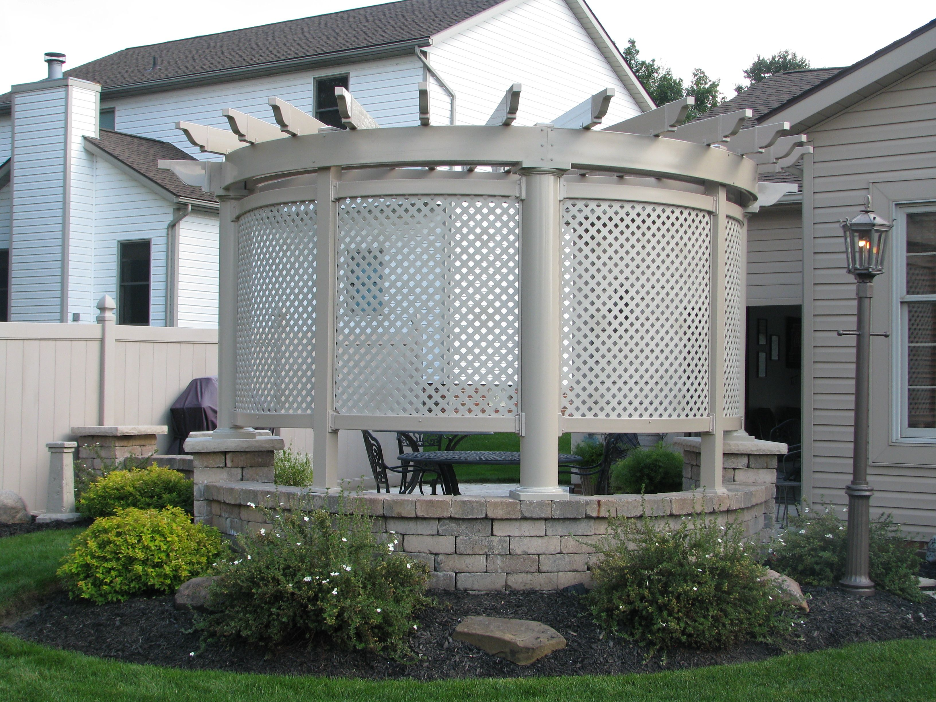 Custom trellis to match pergola landscapes by earth design - Custom Round Pergola More