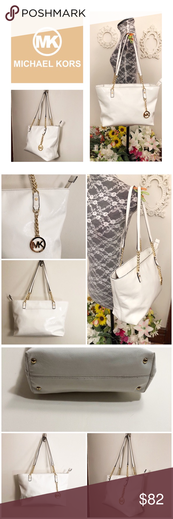 896f606f8df3 Auth Michael Kors White Patent Leather Purse Authentic Michael Kors White  Patent Leather Purse With Gold Chain Decal. Gorgeous! Only used a few  times, ...
