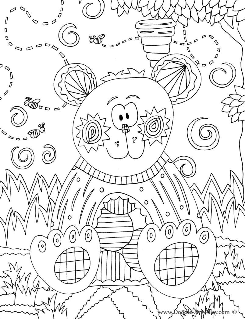 Forest Animal Coloring Pages Doodle Art Alley color