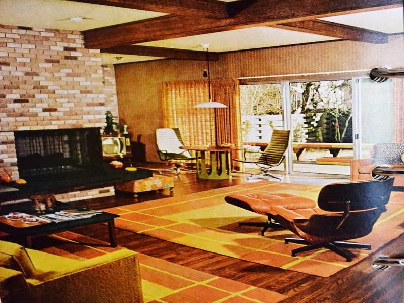 60's inspired decor - google search | 50's - 70's stone fireplaces