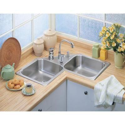 Elkay Neptune Drop In Stainless Steel 32 In 4 Hole Double Bowl Kitchen Sink N217324 The Home Depot Kitchen Sink Design Corner Kitchen Sink Corner Sink Kitchen