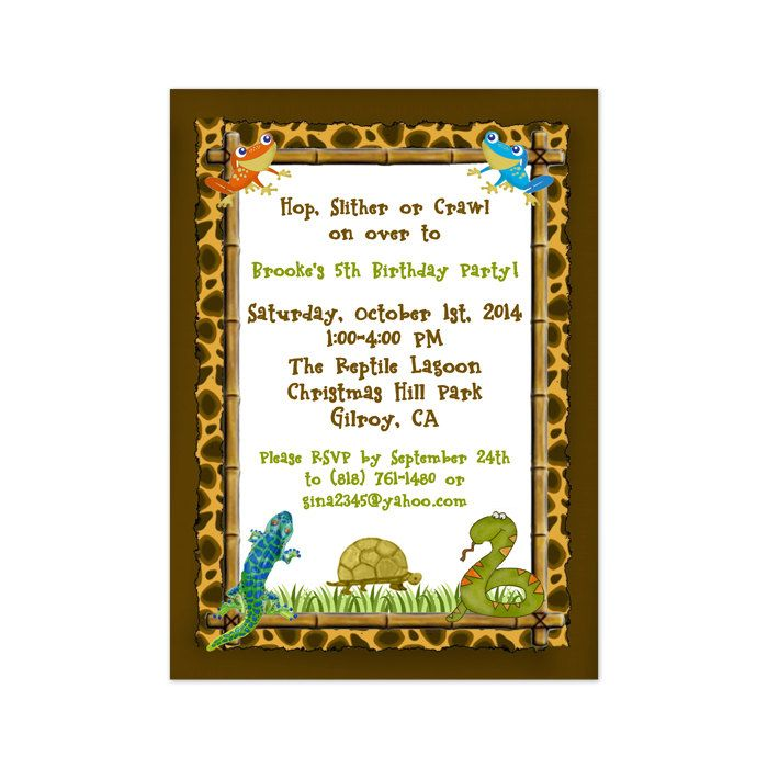 Printable Reptile Party Invitation Template by PrintedParty Bday