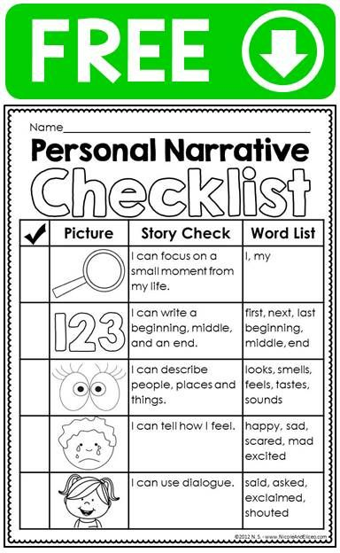 Free Personal Narrative Ideas Chart Writing Checklist Graphic
