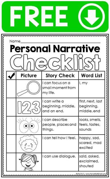 FREE Personal Narrative Ideas Chart Writing Checklist