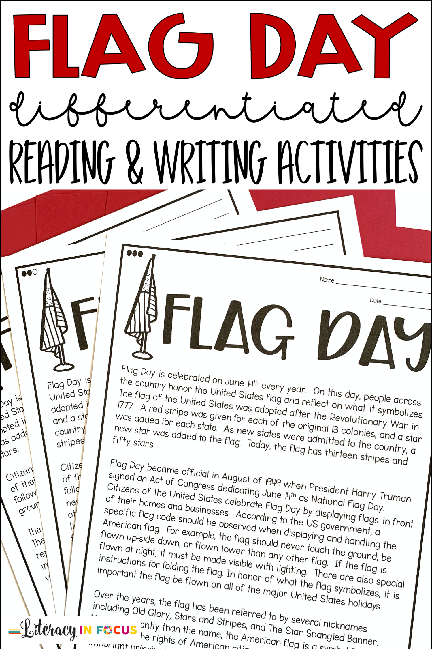 Flag Day Reading And Writing Activities In