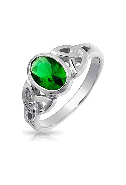 Bling Jewelry Simulated Emerald Glass Celtic Knot Triquetra Sterling Silver Ring z3k7rFPJ