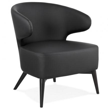 Fauteuil Design Yasuo En Polyurethane Pieds Bois Couleur Noire Noir Fauteuil Design Fauteuil Lounge Fauteuil