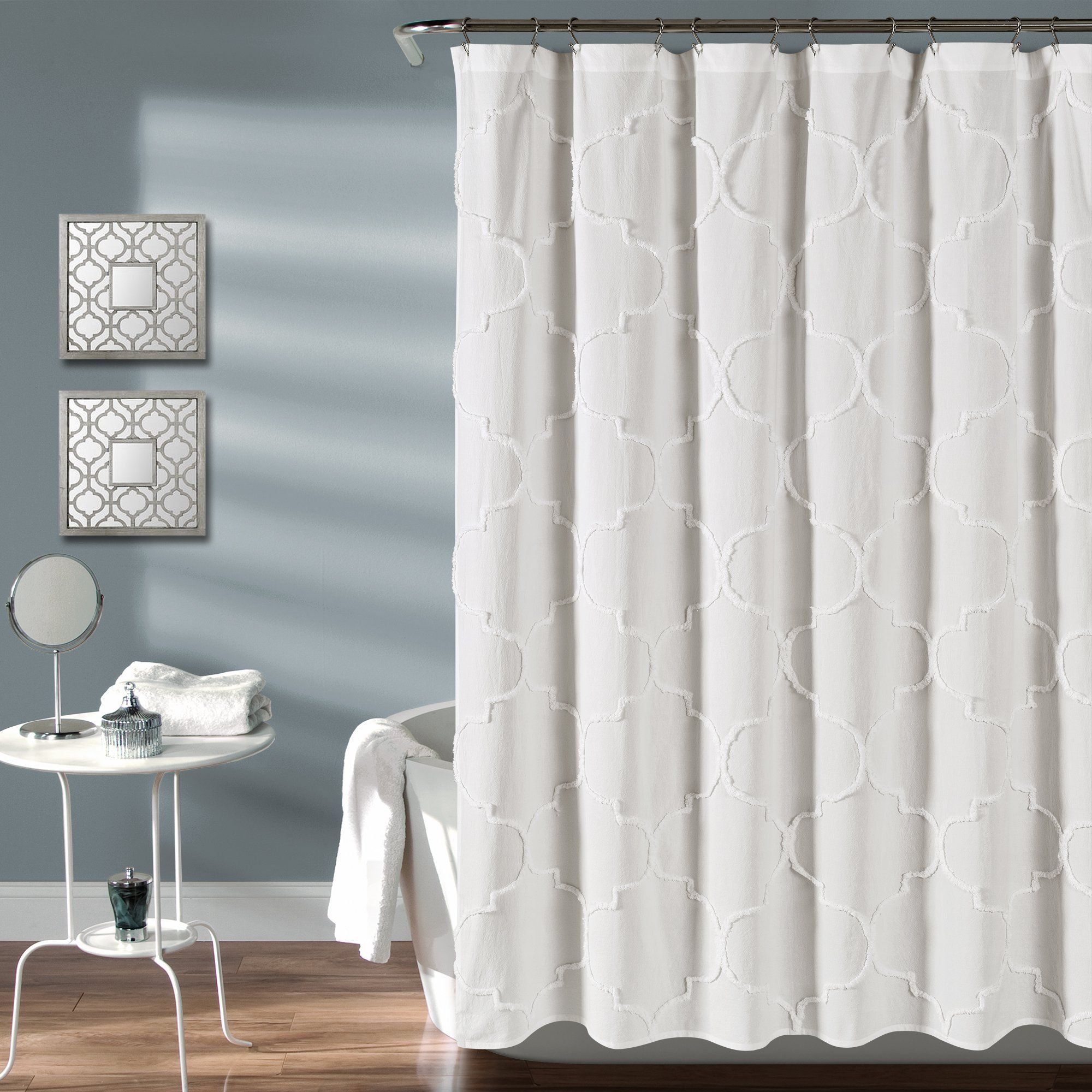 Luxurious Bold Metalic Moroccan Trellis Shower Curtain Set With 12
