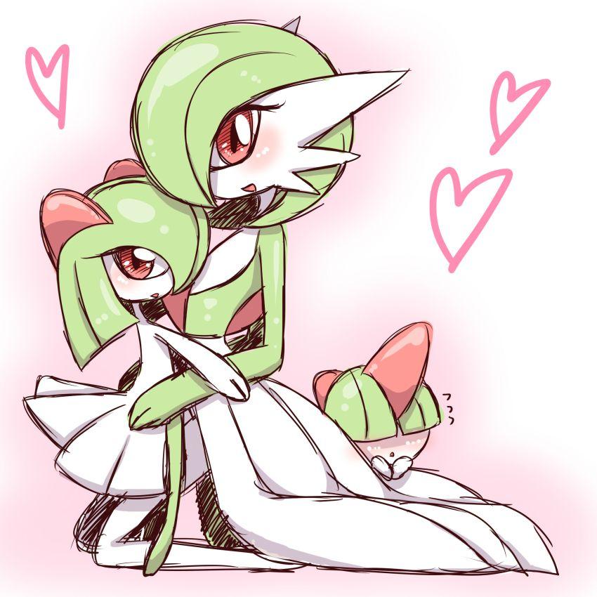 blush gardevoir green_hair heart highres kirlia no_humans