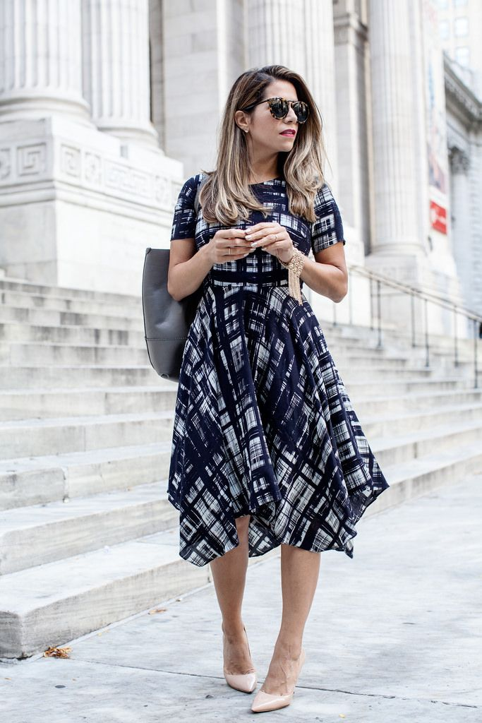 fe6d2e1882dd how to look taller What to Wear to Work anthropologie dress karen walker  harvest sunglasses jcrew grey tote painted plaid dress nude heels what  shoes to ...