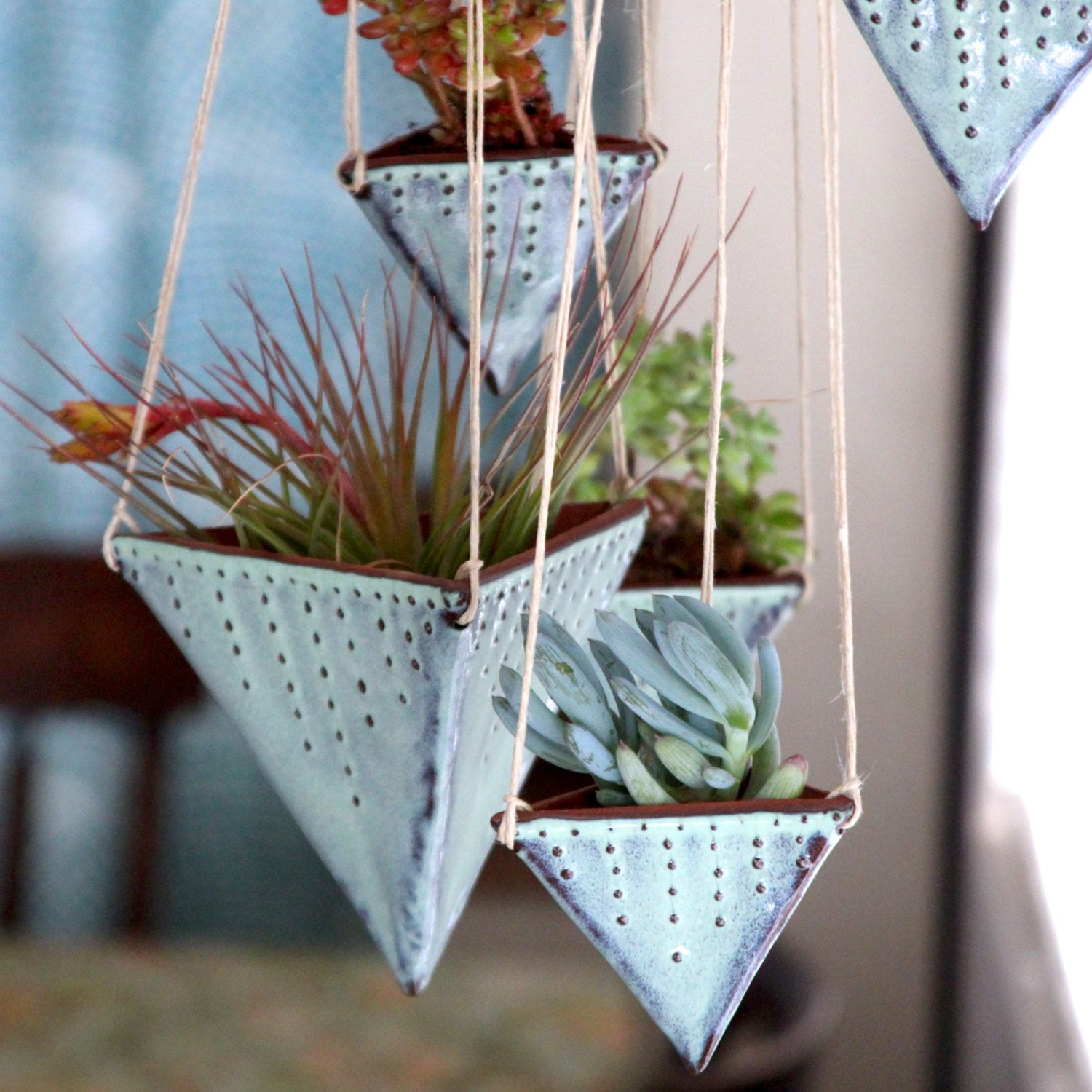 geometric hanging planter triangle pot with by backbaypottery  - geometric hanging planter  triangle pot with dots design  meduim size modern home decor  aqua mist  ready to ship