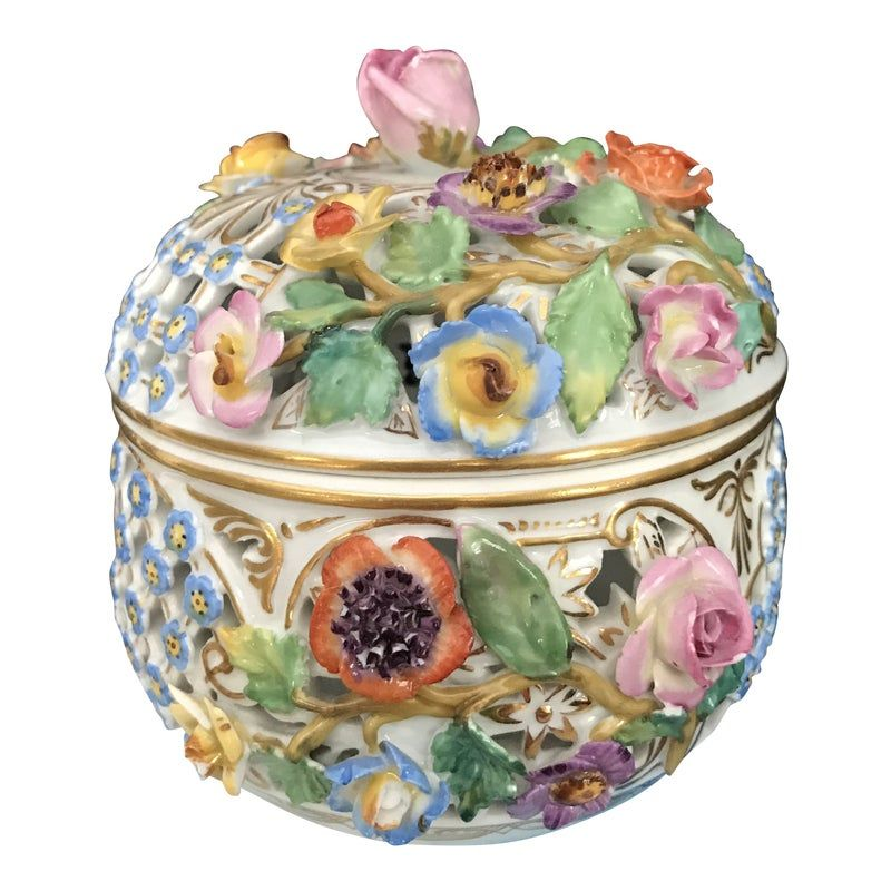"""Vintage Germany Meissen Porcelain Round Trinket Box W/Lid & Flowers. Condition is Good, Has no hair line Only little chips on some flowers please look carefully before you make order, Measure: 4 3/4"""" h x 4 1/2"""" w"""