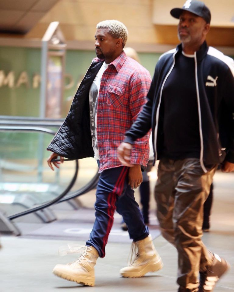 Kanye West Wears Adidas Yeezy Season Calabasas Sweatpants and Boots in LA