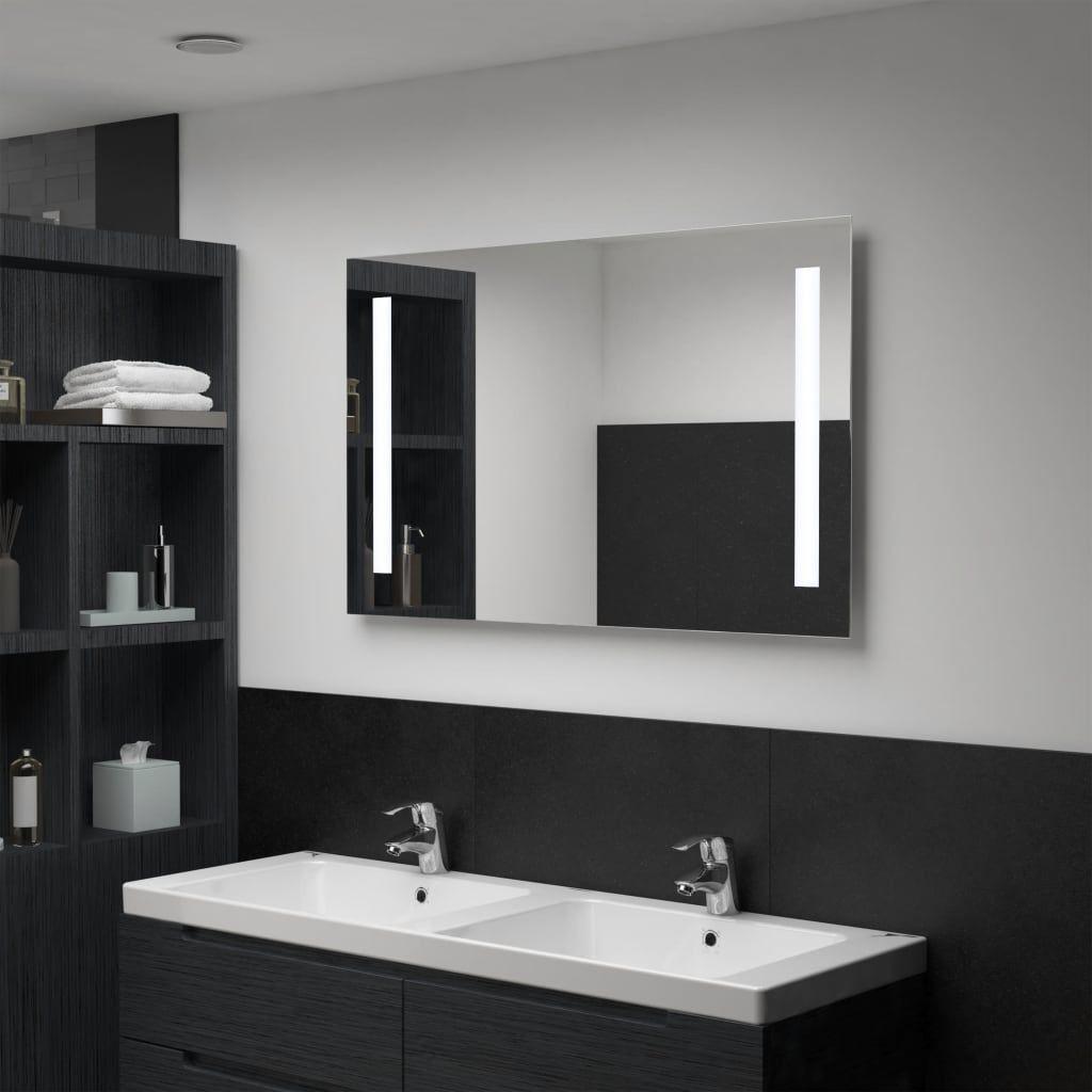 Vidaxl Badezimmer Wandspiegel Mit Led 100 X 60 Cm Non Lumineszenzdiode Spiegel Bietet Raffiniert Licht Zusammen In 2020 Bathroom Mirror Wall Mirror With Shelf Mirror