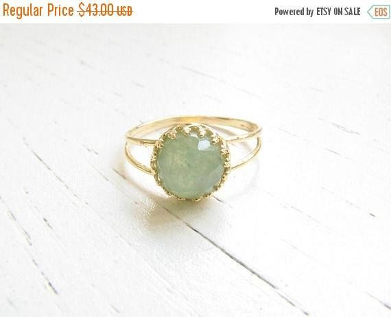 SALE - Jade ring - Natural Jade ring, Jade gemstone ring - Gold ring - Gold Jade ring - Gemstone ring - Jade jewelry - Green ring - May birt