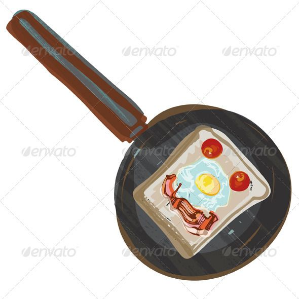 Fried Breakfast in Frying Pan  #GraphicRiver         Bread, bacon, eggs and tomatoes in frying pan. Each item on grouped on separate layer. Vector eps (minimum Illustrator CS, 10). Hi-res RGB 300dpi jpg included.     Created: 10May13 GraphicsFilesIncluded: JPGImage #VectorEPS Layered: Yes MinimumAdobeCSVersion: CS Tags: bacon #bread #breakfast #eggs #fryingpan #smileyface #tomatoes