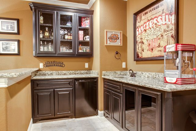 The wet bar in our movie room! dfw improved Custom Home Construction ...