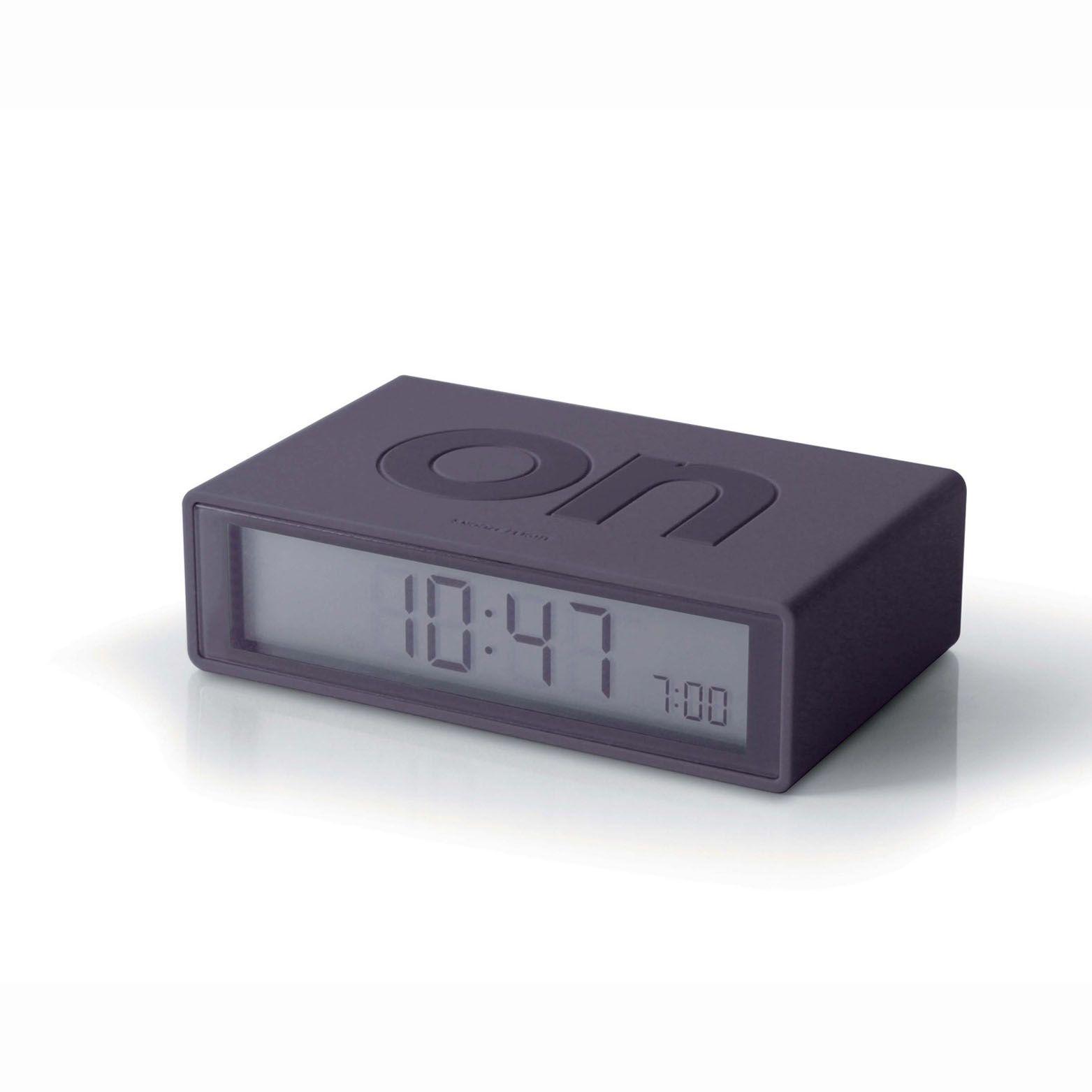 Flip ON/OFF Clock El LIght Charcoal by Lexon