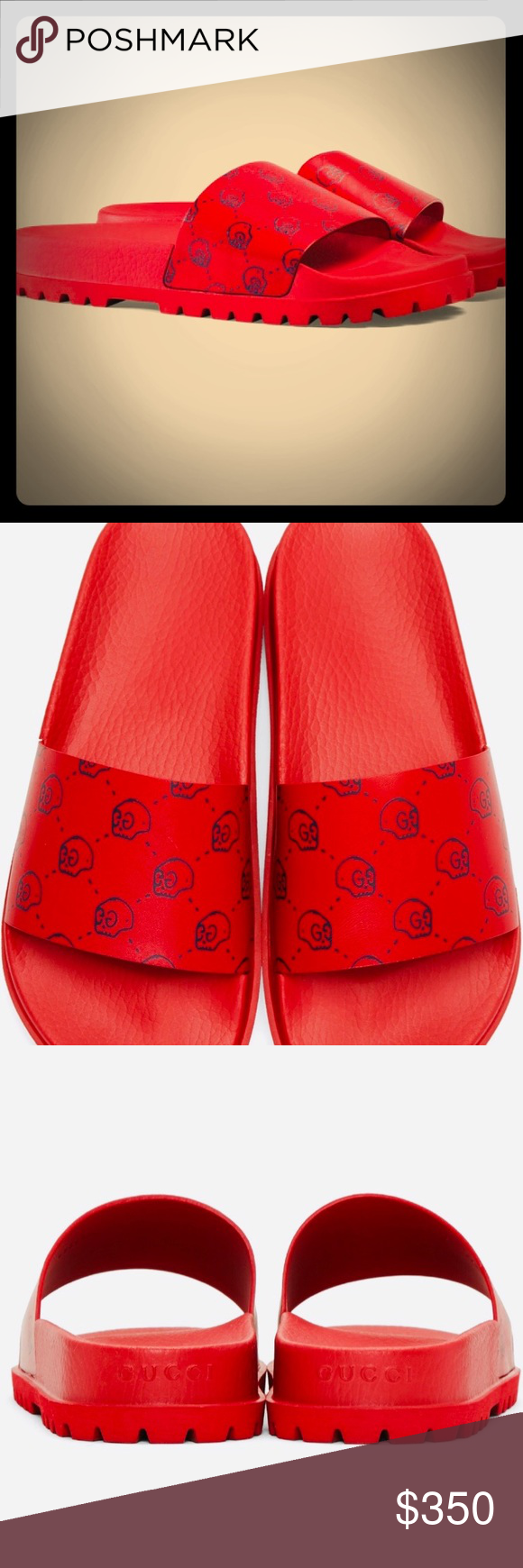 2bf0e2fdaeb2 Gucci Ghost Red Lux Slides RARE Brand new Red GUCCI sliders with box and  dust bags