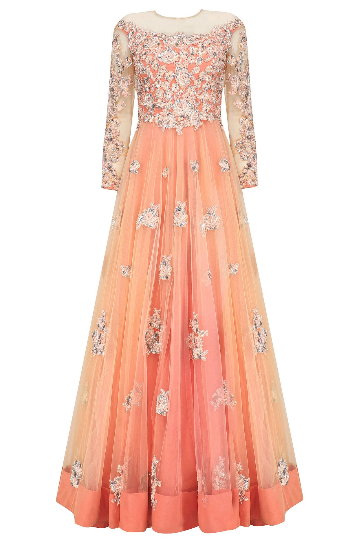 6a94d8cadea1b Peach and silver floral patchwork anarkali set available only at Pernia's  Pop Up Shop.