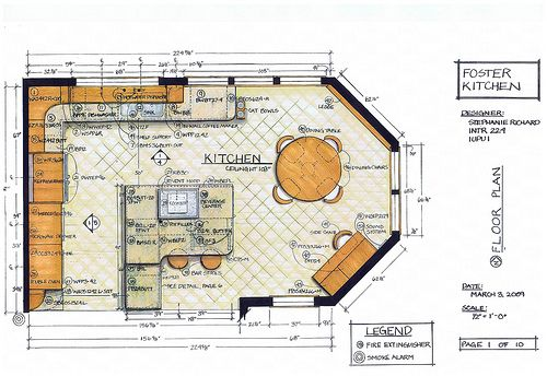 Kitchen floor plans  interior-design-drafting-tools