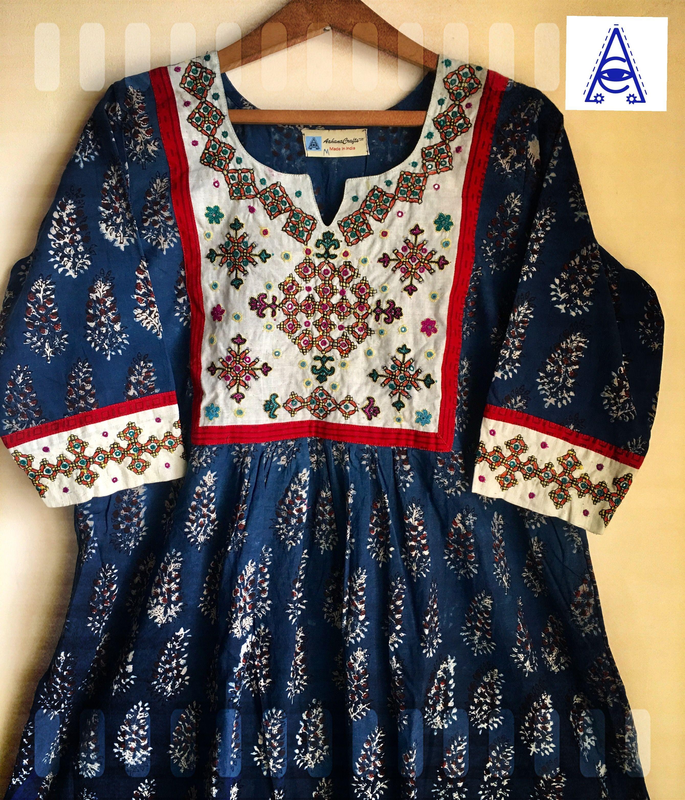 Mutwa Kutchi Hand Embroidery Natural Indigo Kurta In Jahota Block Printing Beautiful Outfits Pakistani Fashion Outfits