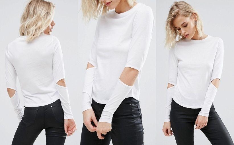 28095sj New Look Bluzka Wyciecia White 38 7150087196 Oficjalne Archiwum Allegro Long Sleeve Blouse Clothes Fashion