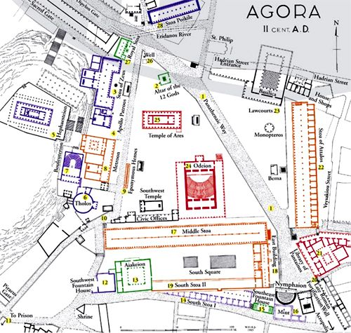 Ancient Agora of Athens Map AP Art History Pinterest Athens