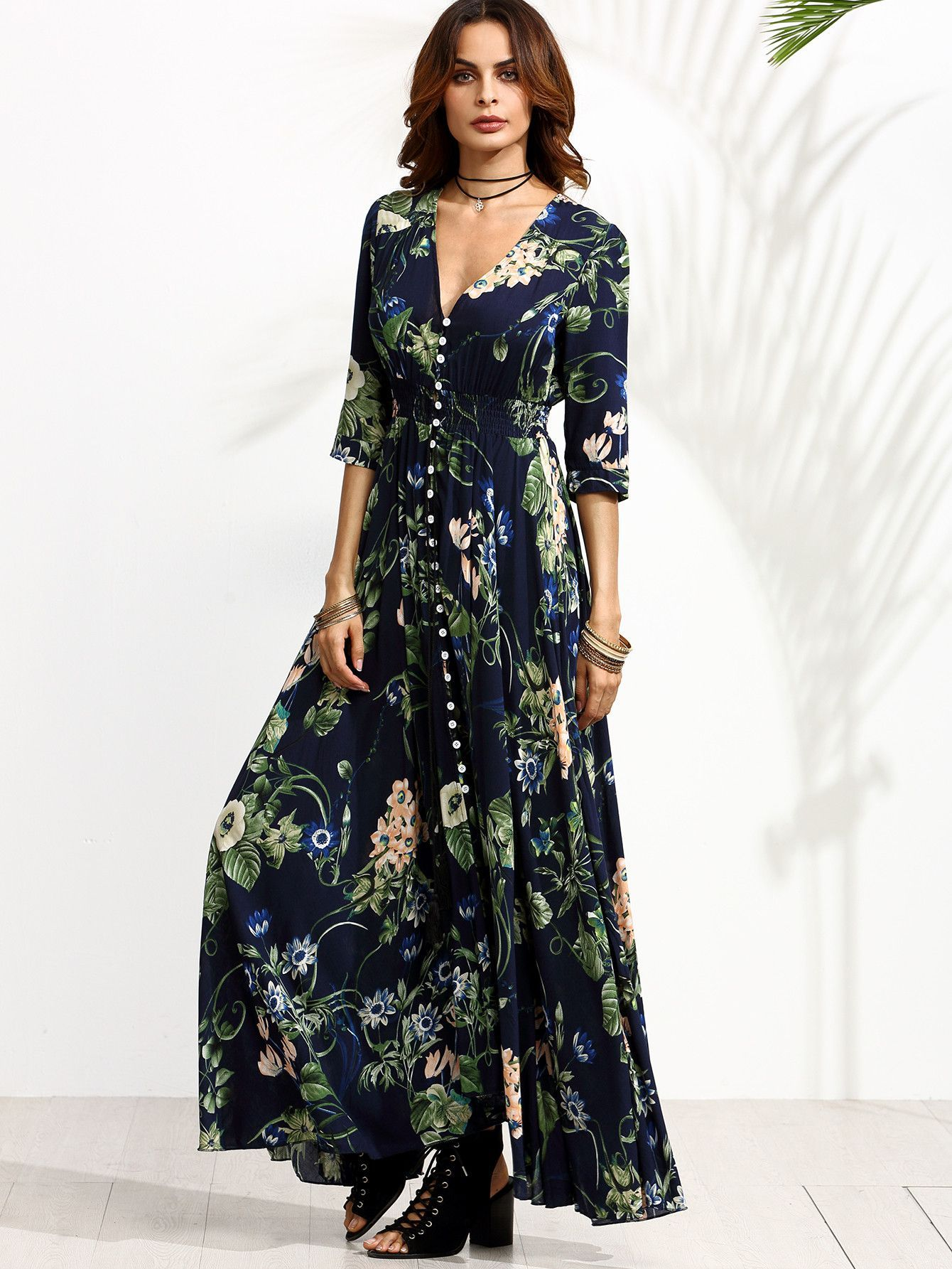 e5595f027fbcf Navy Floral Print 3/4 Sleeve Drawstring Button Dress in 2019 ...