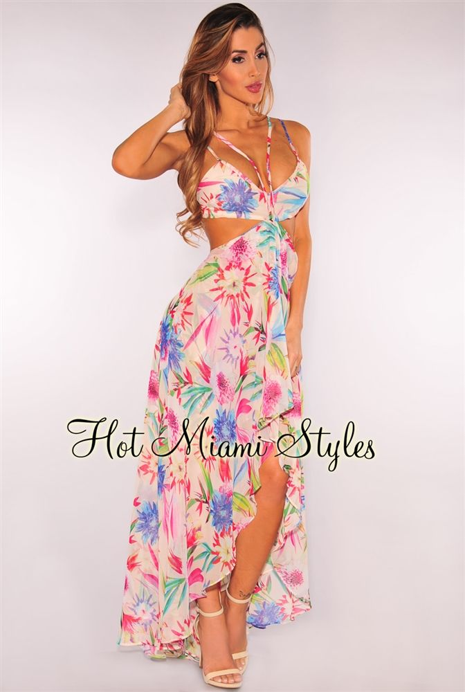 Cream Floral Tropical Print Flowy Maxi Dress | Blusas, Bellisima y ...