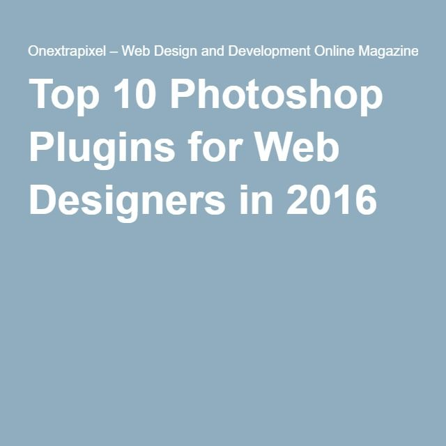 Top 10 Photoshop Plugins for Web Designers in 2016