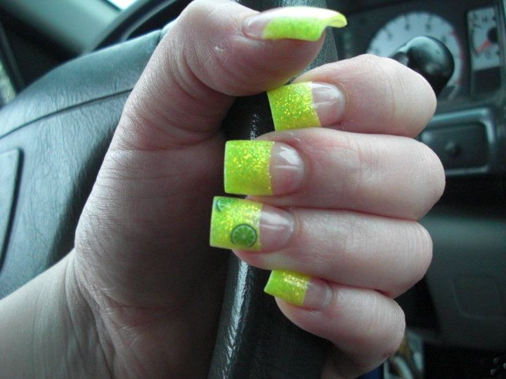 Neon yellow glitter acrylic nail tips with encapsulated Fimo limes ...