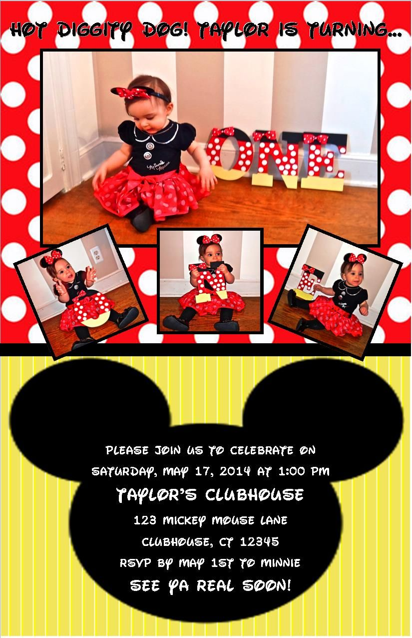Mickey Mouse Themed Invitations Taylors 1st Birthday Pinterest