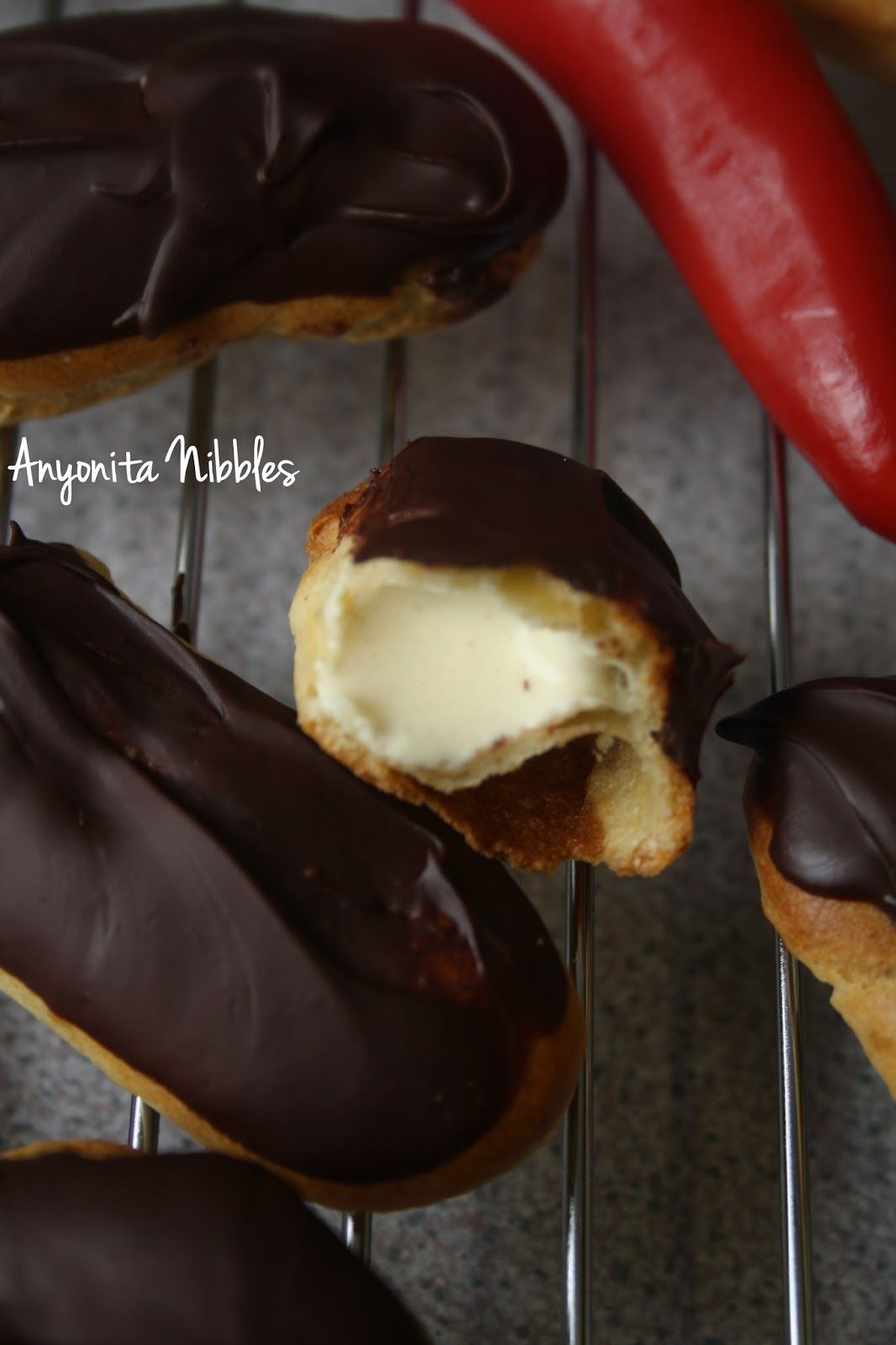 Inside a chilli chocolate eclair with cinnamon custard cream from Anyonita Nibbles