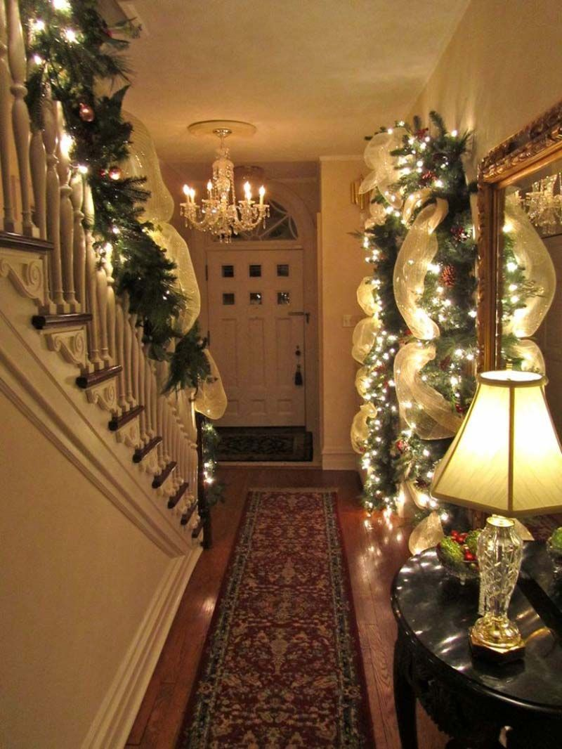Design Christmas Staircase decorating beautiful minimalist interior hallway design in cool awesome christmas decoration with trailing garland and lighting details