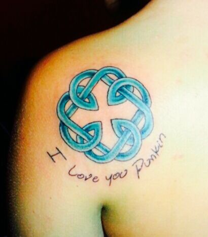 Father Daughter Celtic Knot Tattoo With His Handwriting Permanent