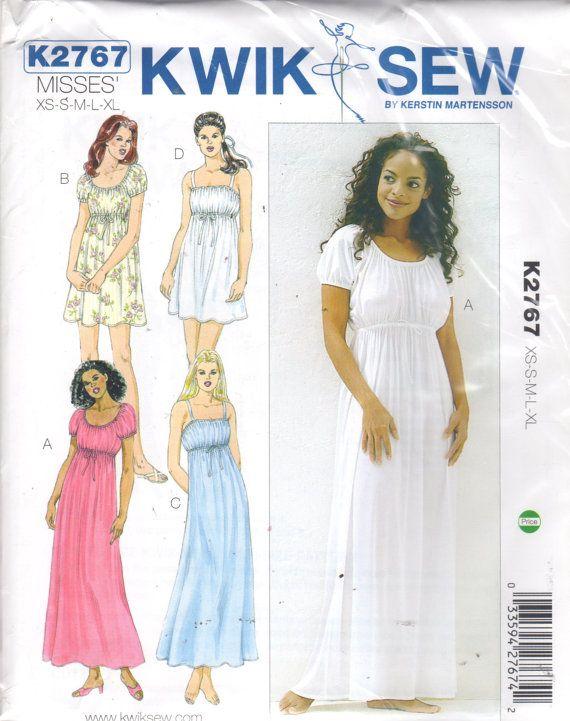 d07c13a706 Kwik Sew 2767 Misses Empire Waist Nightgown Pattern Josephine Style Womens  Vintage Sewing Pattern Size xs s m l xl Bust 31- 45 UNCUT
