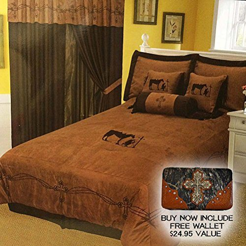 Western Peak 7 Pieces Turquoise Embroidery Texas Western Praying Cowboy Cross Luxury Comforter Micro Suede Bedding Set King Queen Bedding Sets Bed Bedding Set