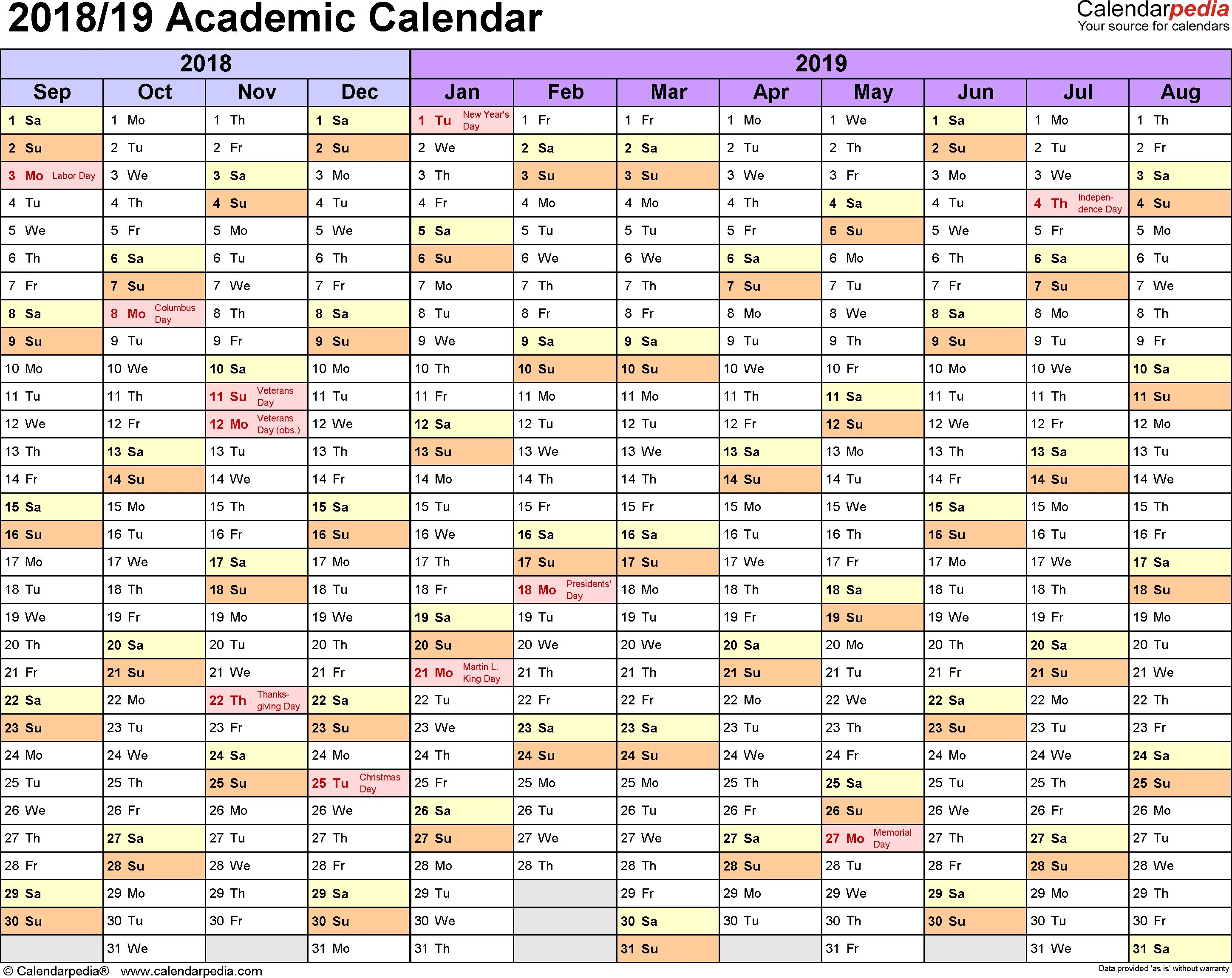 Academic Calendars 2018/2019   Free Printable Pdf Templates Make