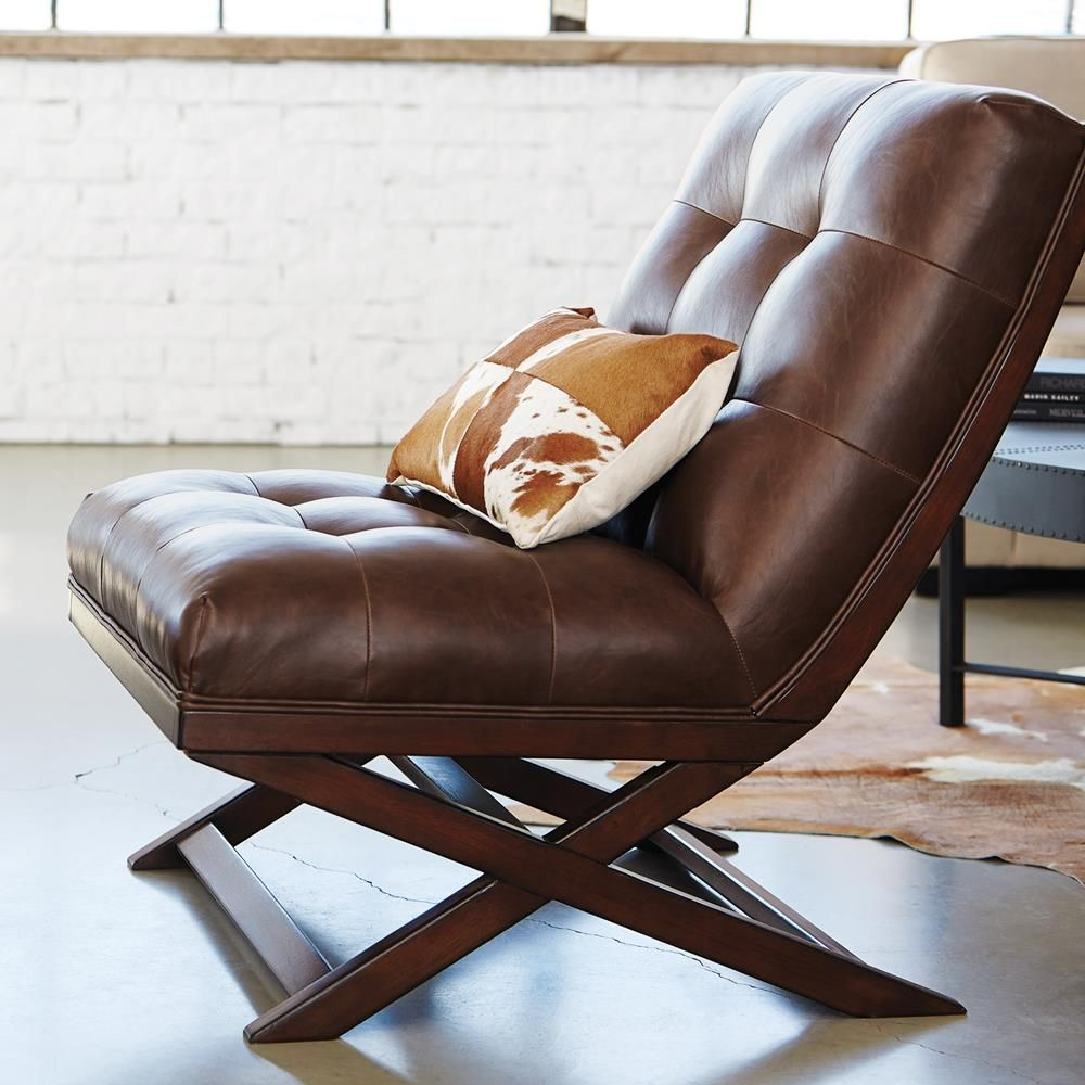 Atelier Upholstered Bonded Leather Lounge Chair With Wood Legs