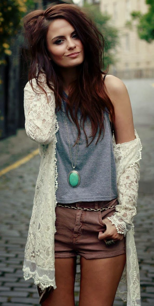 Lace Blouse With Shorts and V neck T-Shirt