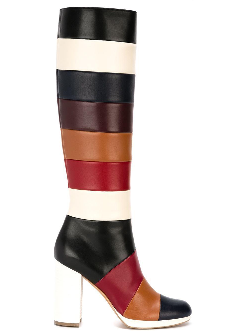 34df3f8b4 Valentino Garavani Striped Boots - Stefania Mode - Farfetch.com Couro,  Sapatos, Valentino