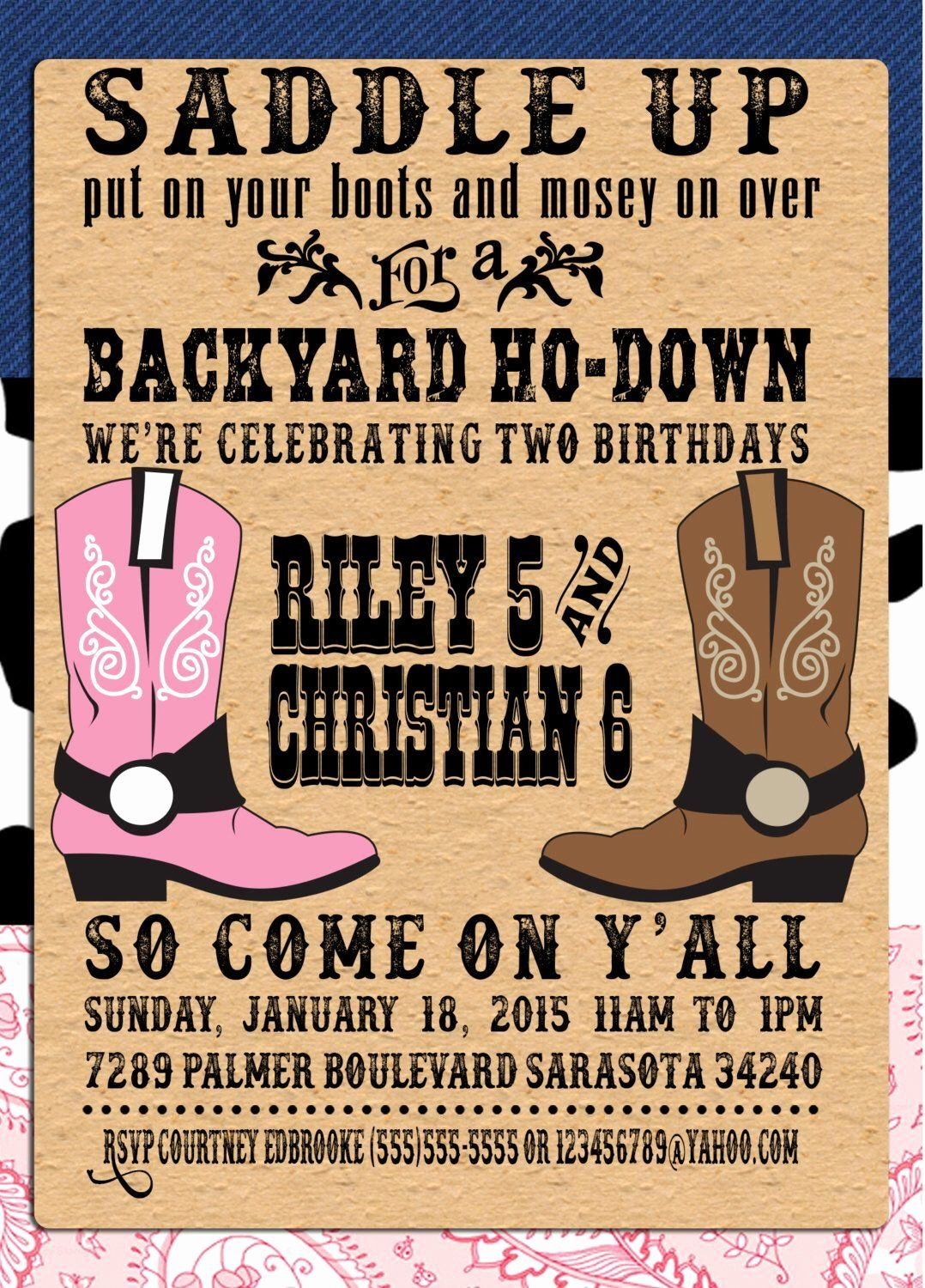 Free Western Invitation Templates Awesome Pin by Crafted by Yudi
