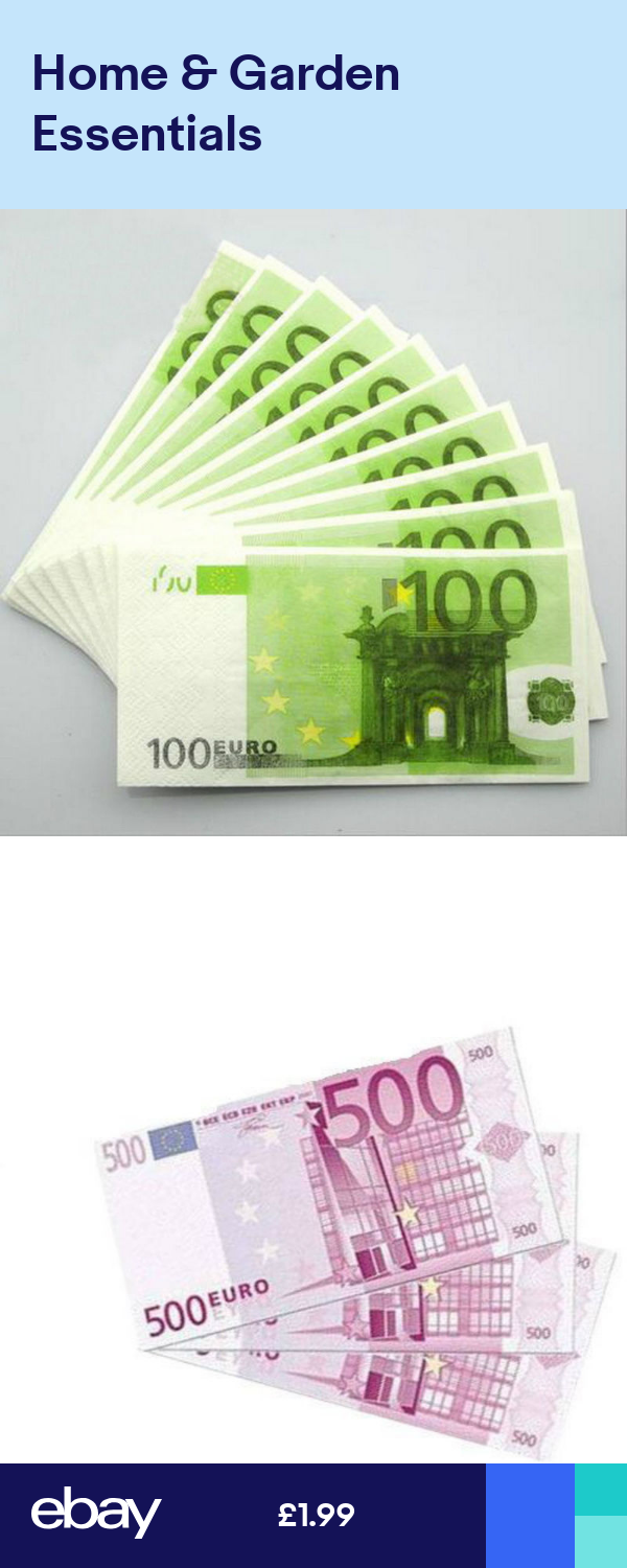 PACKET OF 10 x 100 500 EURO BILL PRINTED TISSUES CASH