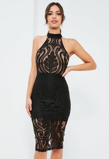 29c79667fb8ba Black Lace High Neck Sleeveless Midi Dress   Missguided ...
