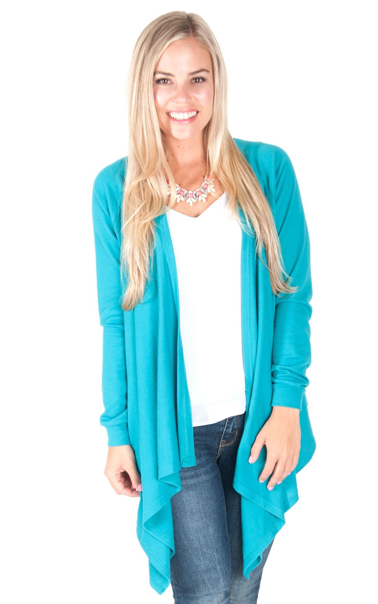 Turquoise Claire Waterfall Sweater | Products, Sweaters and Turquoise